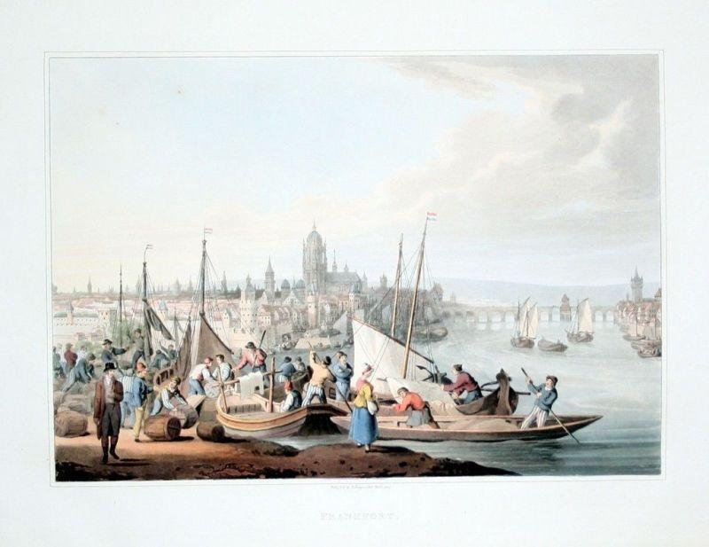 1814 Frankfurt am Main Gesamtansicht Original Aquatinta aquatint antique print