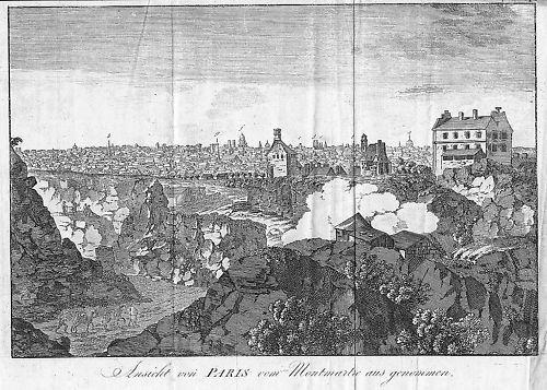 1790 - Paris Vue France gravure estampe Kupferstich gravure map engraving