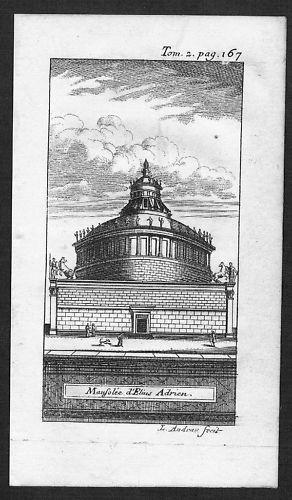 1700 - Roma Mausoleo di Adriano acquaforte Kupferstich veduta engraving Italia