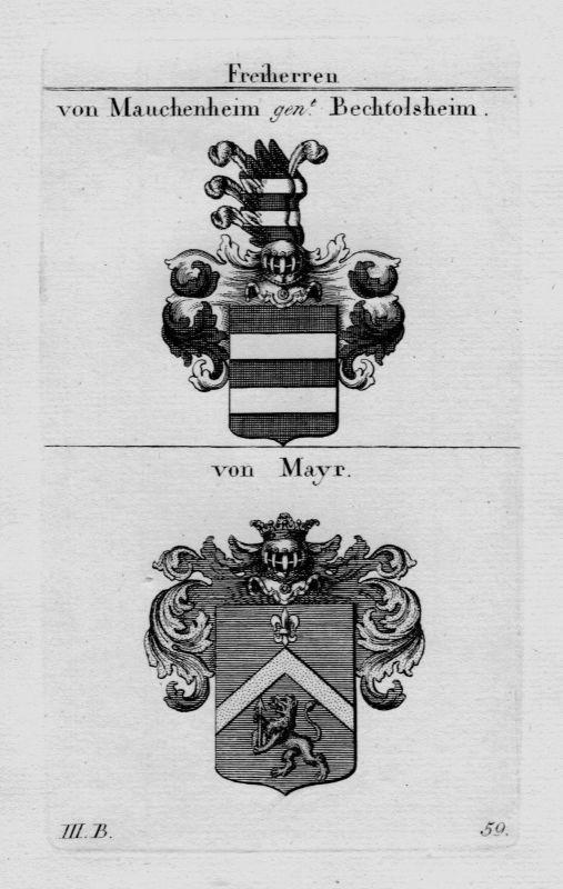 1820 - Mauchenheim Bechtolsheim Mayr Wappen Adel coat of arms Kupferstich