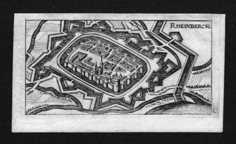 1690 - Rheinberg Stadtplan Gesamtansicht Kupferstich Riegel
