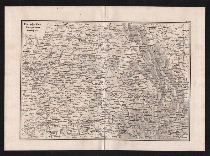1840 - Paris Nancy Chaumont France Schlacht battle Karte map gravure Stahlstich