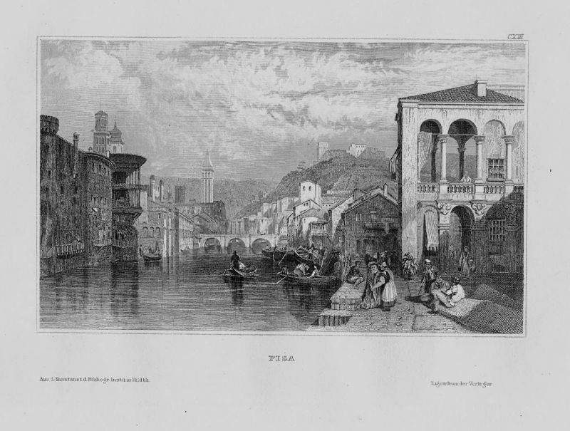 1840 - Pisa Arno Fluss Ufer Boote Toskana Italien Italia Original Stahlstich