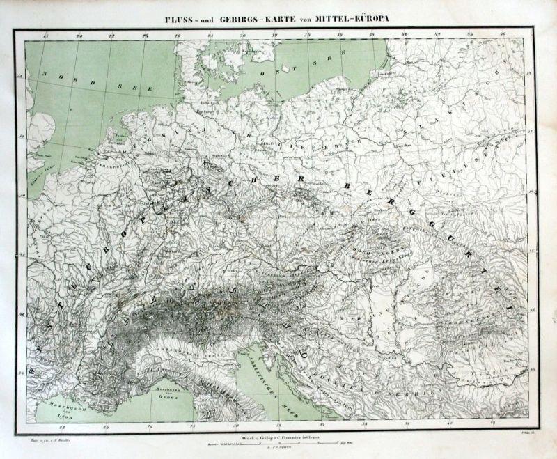 1850 - Fluss-Gebirgs-Karte v. Mitteleuropa Karte Litho map