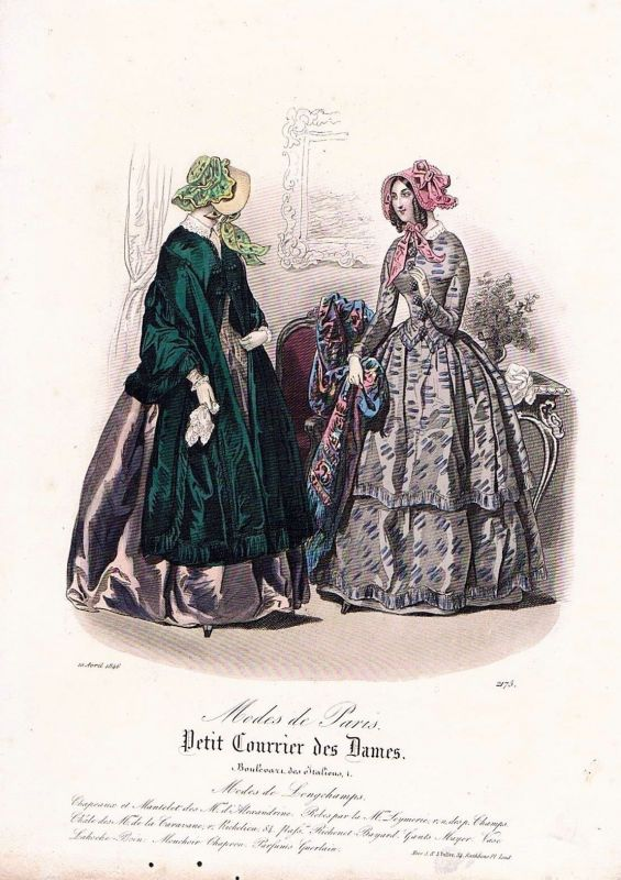 1846 Biedermeier Mode Kupferstich victorian fashion antique print etching  89731