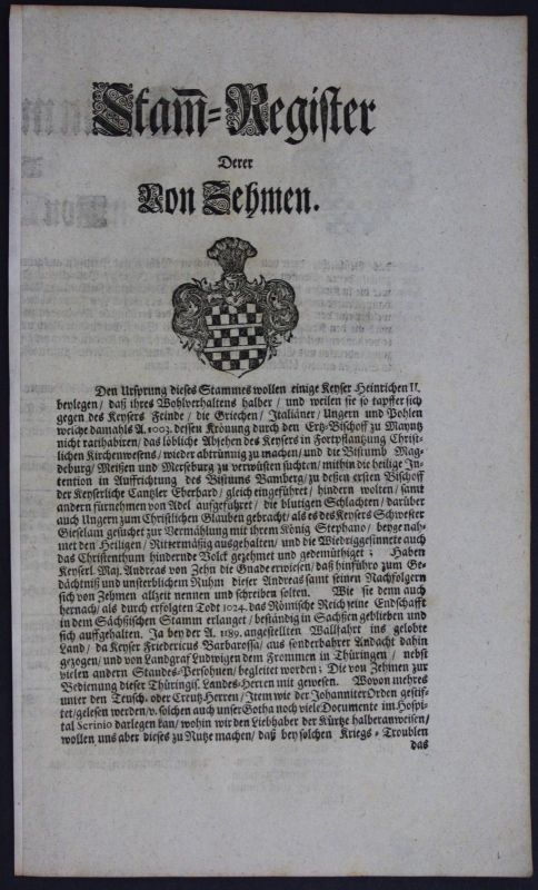 1720 - Zehmen Ahnentafel Stammbaum Genealogie Wappen family tree coat of arms