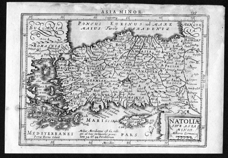 1634 Turkey Türkei Cyprus Zypern map Karte Mercator Kupferstich
