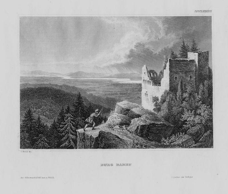 1840 - Burg Baden Bade-Baden Breisgau Baden-Württemberg Original Stahlstich