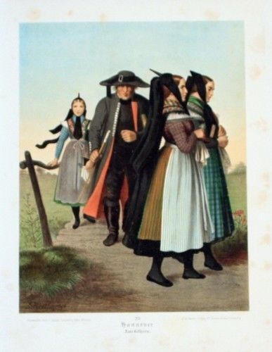 1890 - Hannover Trachten Tracht Original Lithographie lithograph