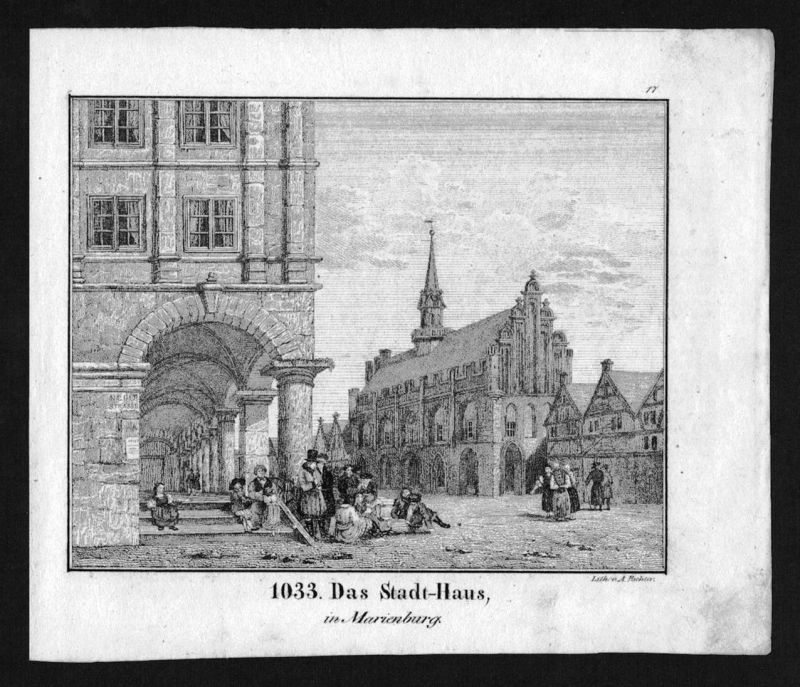 1830 - Marienburg Malbork Polen Poland Polska Lithographie Lithograph