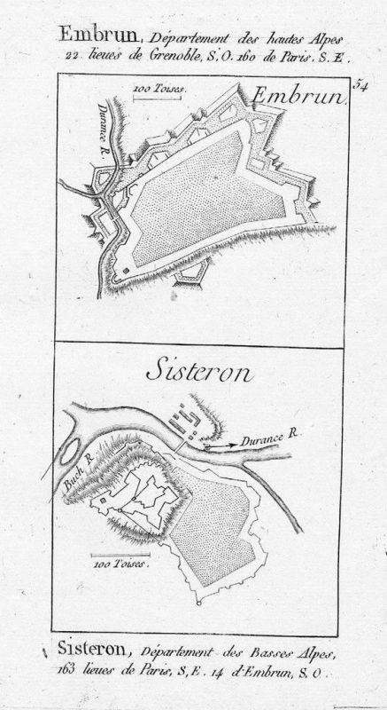 1770 - Embrun + Sisteron gravure estampe Kupferstich engraving
