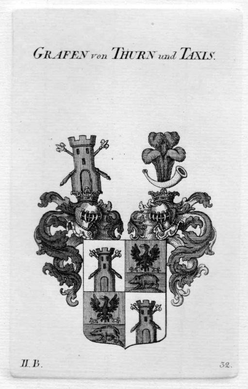 1820 - Thurn und Taxis Wappen Adel coat of arms heraldry Heraldik Kupferst 73207