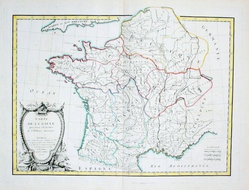 1773 - France Frankreich carte map Arrivet Kupferstich Karte gravure estampe
