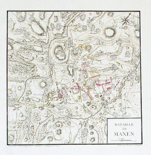 1780 - Maxen Müglitztal Schlacht 1759 Karte Kupferstich map battle engraving