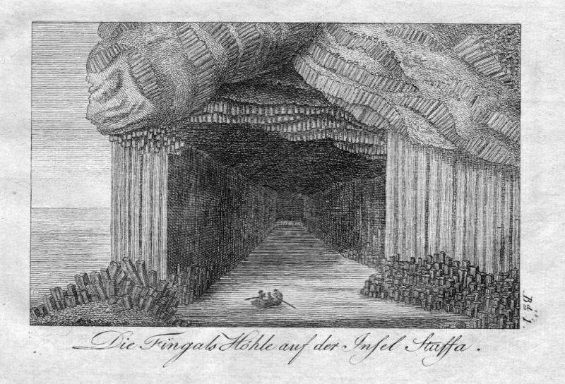 1820 - Staffa Fingals Höhle cave Schottland Scotland Original Kupferstich