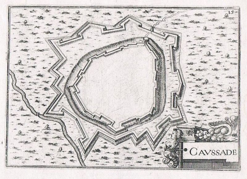 1660 - Caussade Tarn-et-Garonne gravure plan Original Kupferstich Tassin