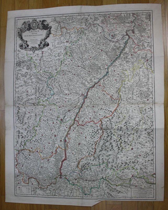 1707 Elsass Alsace carte map Karte Jaillot gravure engraving Kupferstich wall