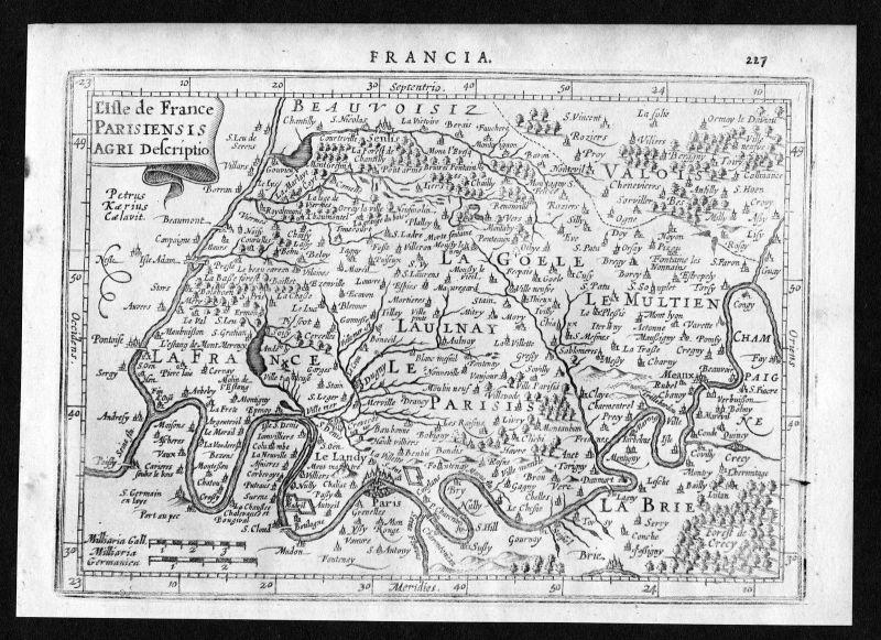 1634 Ile de France Paris Senlis Meaux Pontoise gravure map Mercator Kupferstich