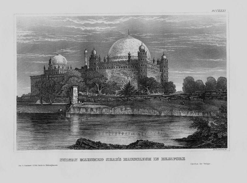1840 - Beypore Kerala Mausoleum Sultan Mahomed Shah Indien Original Stahlstich
