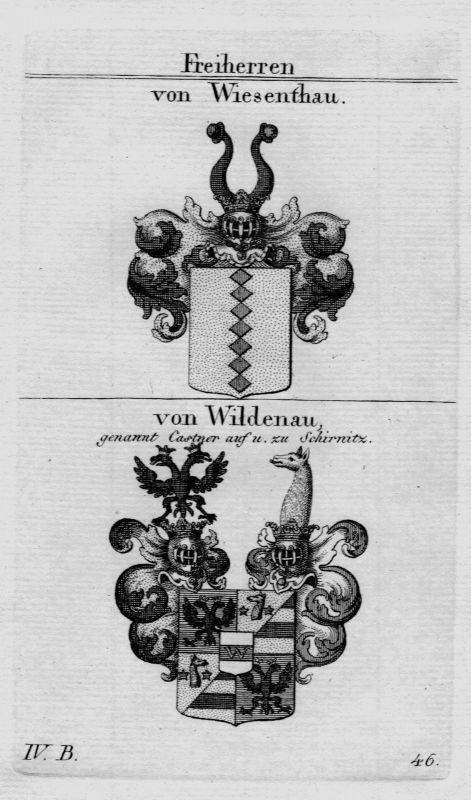 1820 Wiesenthau Wildenau Wappen Adel coat of arms heraldry Heraldik Kupferstich