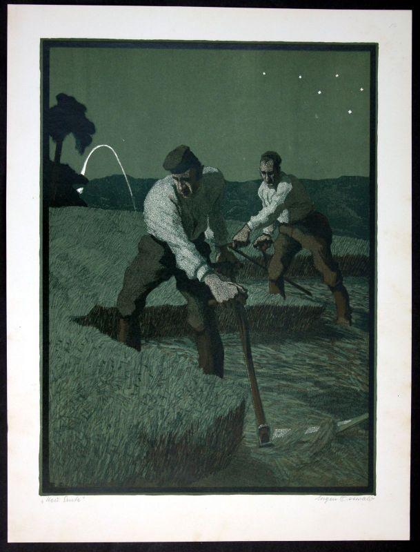 1918 Bauern Ernte Heuernte Eugen Osswald München Original Lithographie signiert