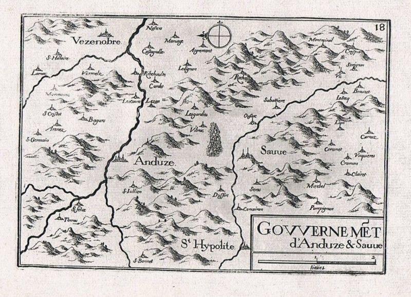 1660 - Anduze Sauve Languedoc-Roussillon Ales gravure Kupferstich Tassin