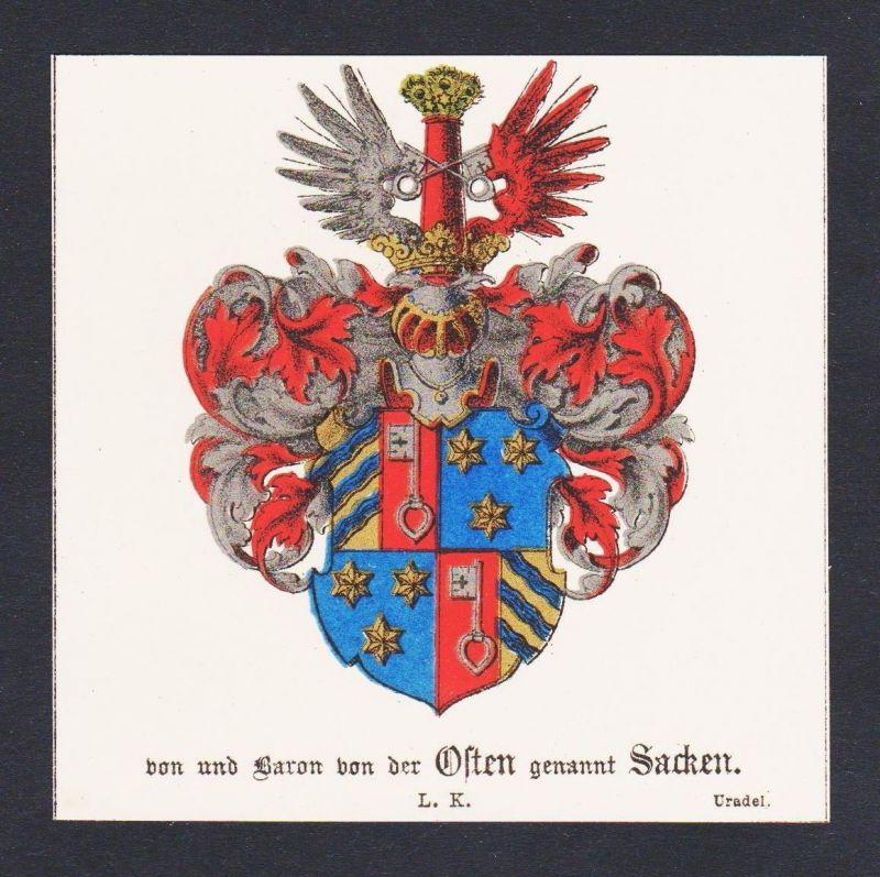 19.Jh. Baron von Osten Sacken Wappen Heraldik coat of arms heraldry Chromo Litho