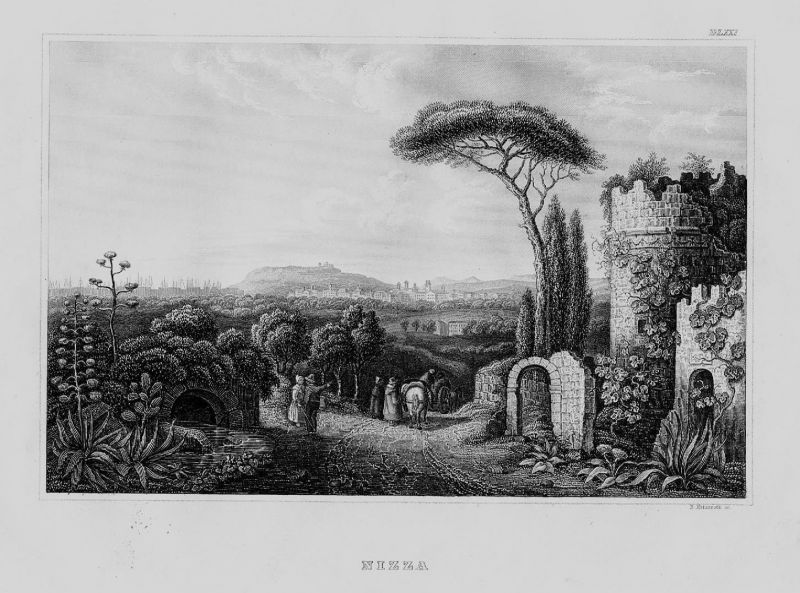 1840 - Nizza Nice Provence-Alpes-Cote Azur Frankreich France Original Stahlstich