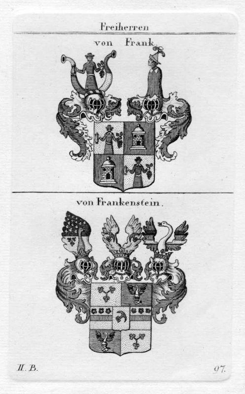 1820 - Frank Frankenstein Wappen Adel coat of arms heraldry Heraldik Kupferstich