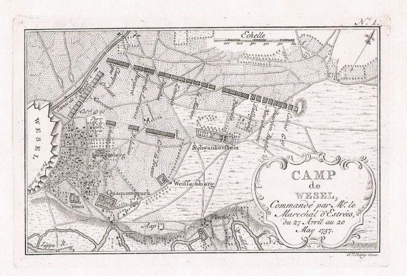 1770 - Wesel Belagerung Original Kupferstich