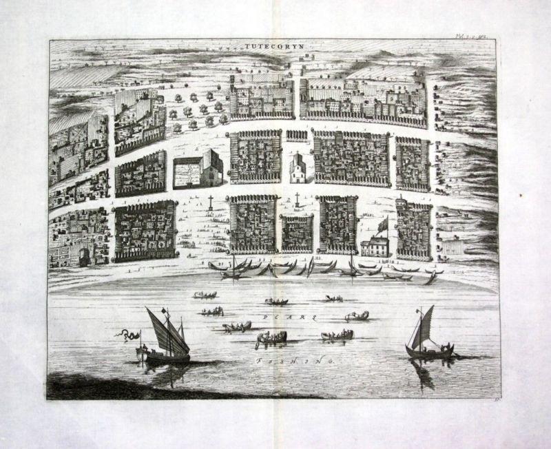 1730 Thoothukudi Tuticorin Tamil Nadu India Indien Kupferstich engraving map