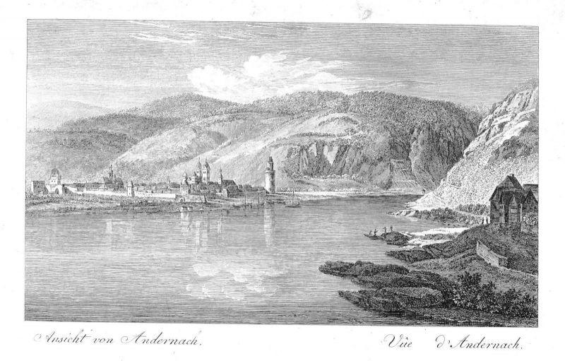 1800 Andernach am Rhein Gesamtansicht Kupferstich engraving etching