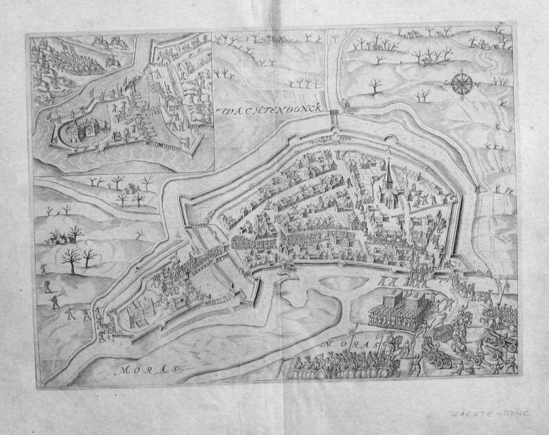 1600 - Wachtendonk Belagerung Original Kupferstich gravure engraving map