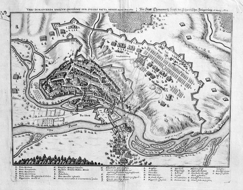 1650 - Donauwörth Belagerung v. 1632 Kupferstich Merian engraving
