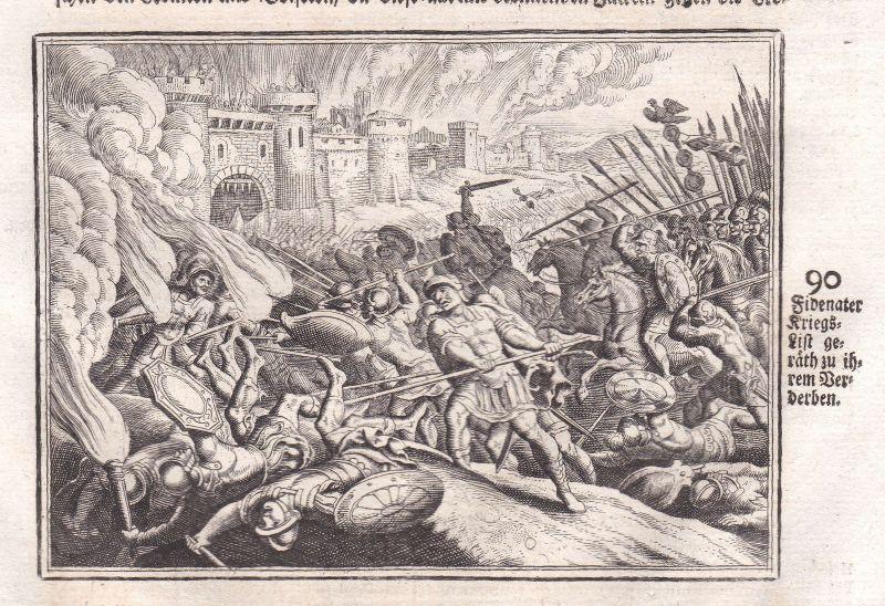 1700 Fidenae Schlacht battle Italia acquaforte Kupferstich antique print Merian