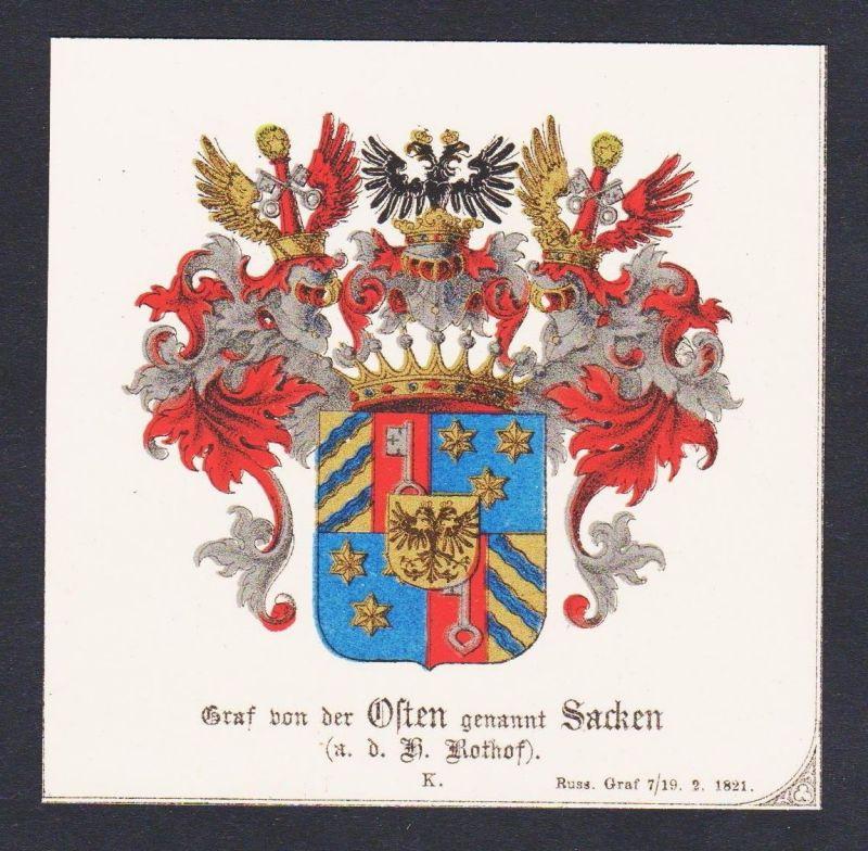 19.Jh. Graf Osten Sacken Rothof Wappen Heraldik coat of arms heraldry Chromo