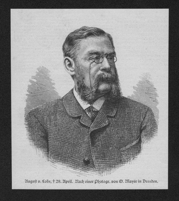 1887 - August von Loen Schriftsteller Theater Portrait Holzstich wood engraving