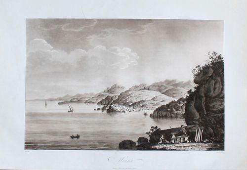 1795 - Monaco view Aquatint Aquatinta aquatint engraving map Kupferstich antique