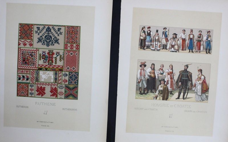 1880 - Hungary Croatie Ruthenian Trachten costumes Lithographie lithograph
