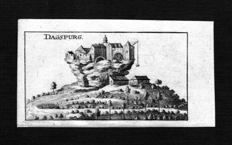 1690 - Dagsburg Dagsbourg Chateau Burg Elsass Alsace gravure Kupferstich Riegel