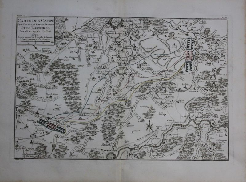 1760 - Maubeuge Mons Bavay Frameries Binche map Karte Kupferstich gravure