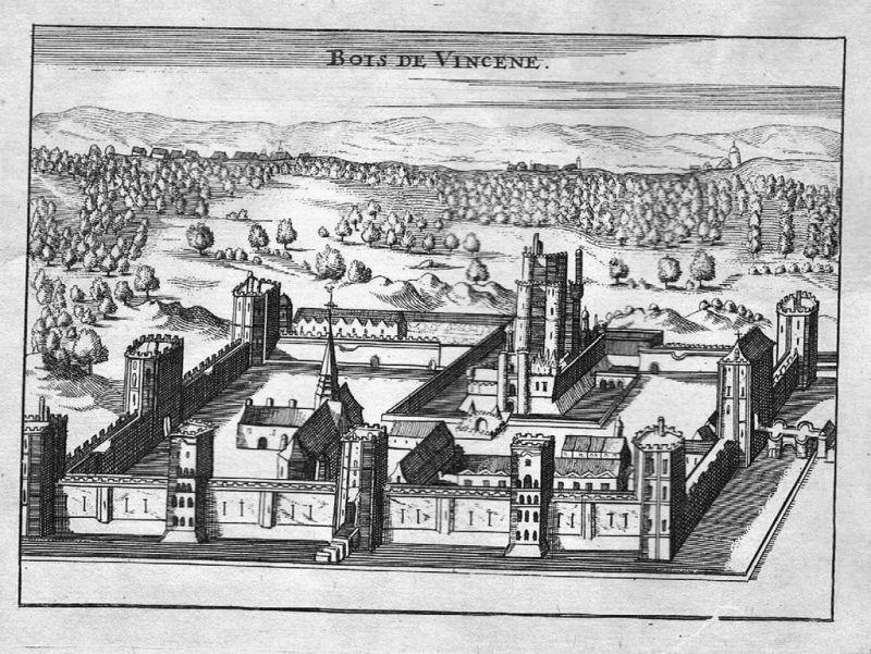 1700 - Bois de Vincennes Paris Original Kupferstich engraving gravure