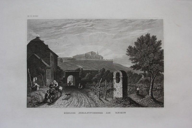 1840 - Schloss Johannisberg Rheingau Ansicht Geisenheim Stahlstich engraving