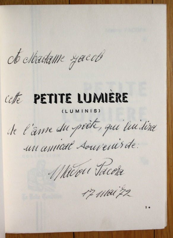 1971 Madou Pacora Petite Lumire signée EO autographe poesie Poemes Lucy Tardieu