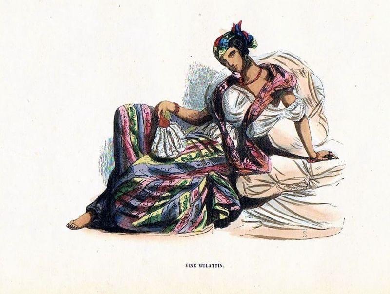 1845 - Mulatte Orient Frau Trachten Holzstich costumes antique print