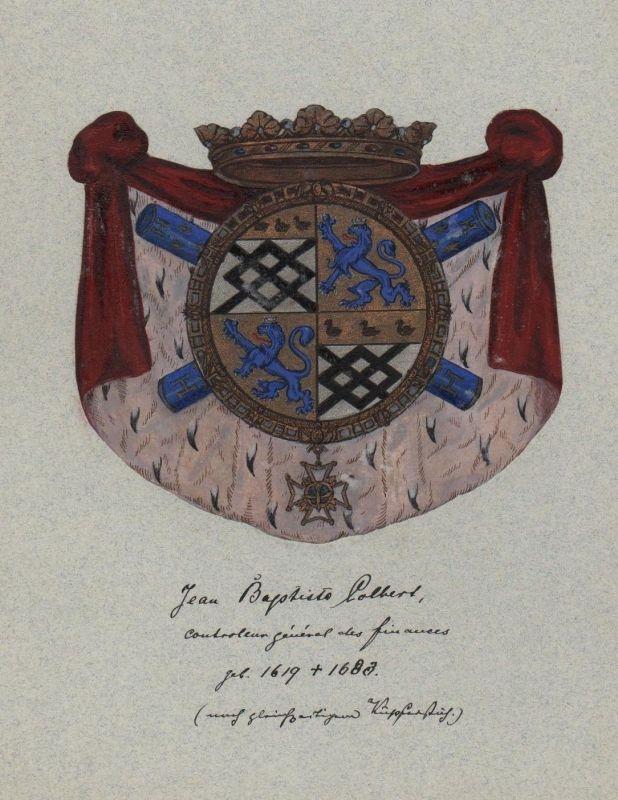 1880 - Jean Baptiste Colbert Wappen Genealogie genealogy Original Aquarell