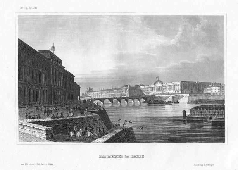1850 - Paris Münze Hotel de la Monnaire Seine France gravure Stahlstich