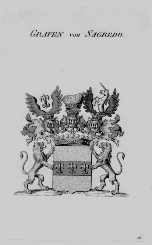 1820 - Sagredo Wappen Adel coat of arms heraldry Heraldik crest Kupferstich