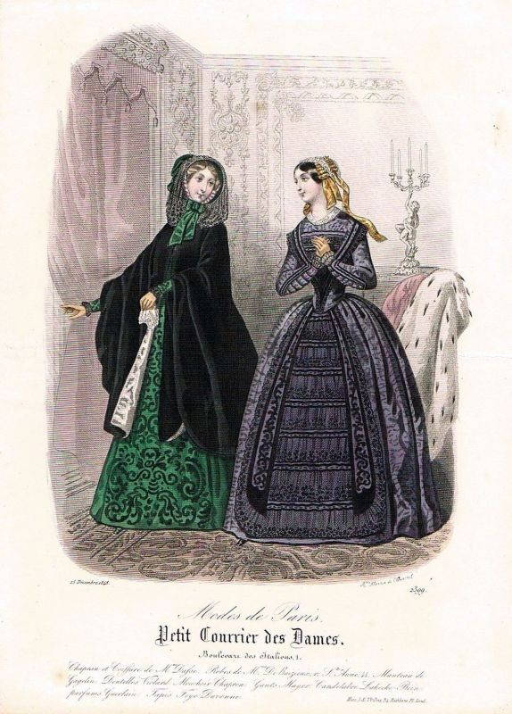1848 Biedermeier Mode Kupferstich victorian fashion antique print etching  62271