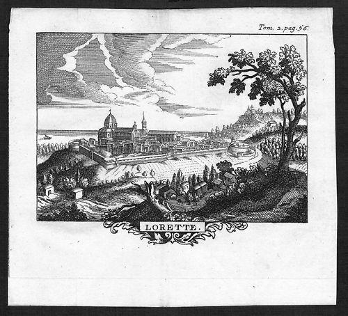 1700 - Loreto incisione engraving Original Kupferstich  acquaforte carta veduta